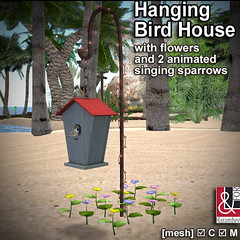 Hanging Bird House with 2 animated singing Sparrows