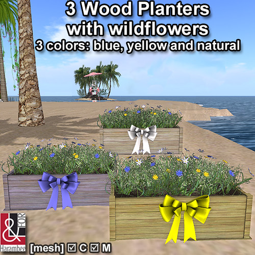 3 Wood Planters with wildflowers