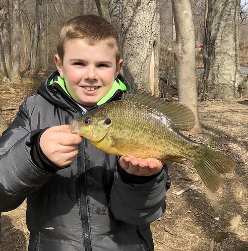 Photo of boy holding red-eared sunfish