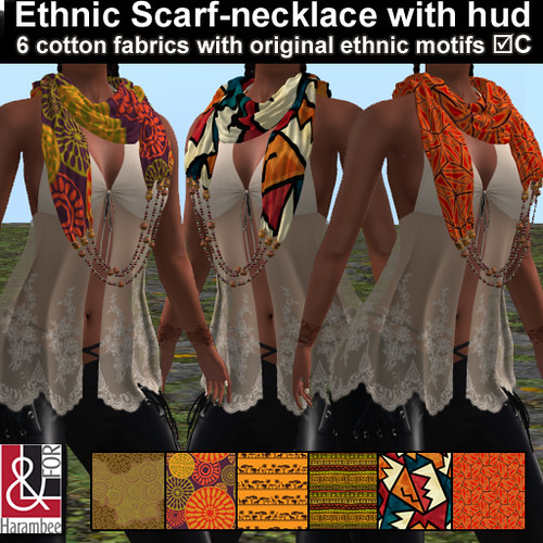Ethnic Scarf-necklace with hud