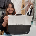 Judy May says 'Kia Ora' to all with her canvas bag #nzbagban, #cottonon, #queensgatemall