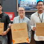 Taylor, Anthony and Angelo show what Macpac is about - paper bags! #nzbagban, #macpac