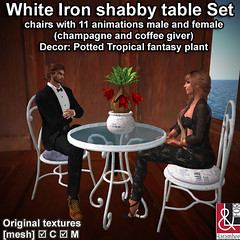White Iron shabby table Set