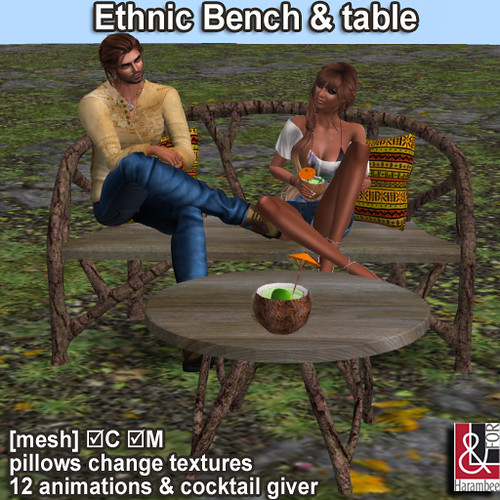 Ethnic Bench table & pillows (change textures)