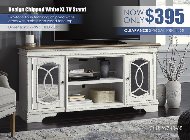 Realyn Chipped White XL TV Stand Clearance_W743-68