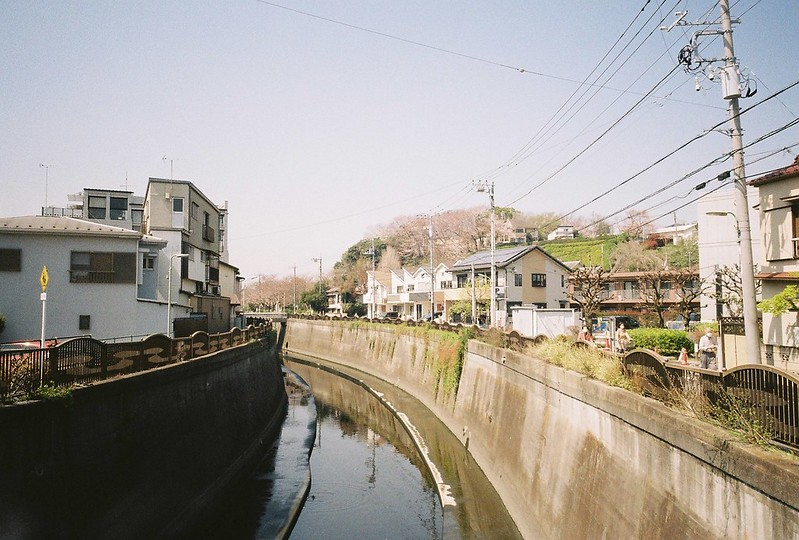 2−21GR1s+ColorPlus200東京いい道しぶい道池上道吞川にかかる小橋から望む本門寺の山