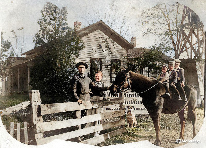 Lawrence Kate 3 boys and horse abt 1898-Colorized