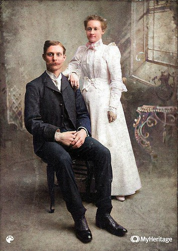 Amos C and Carrie wedding photo-Colorized