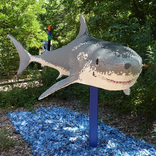 Brookfield, IL, Brookfield Zoo, Smiling Lego Shark Sculpture