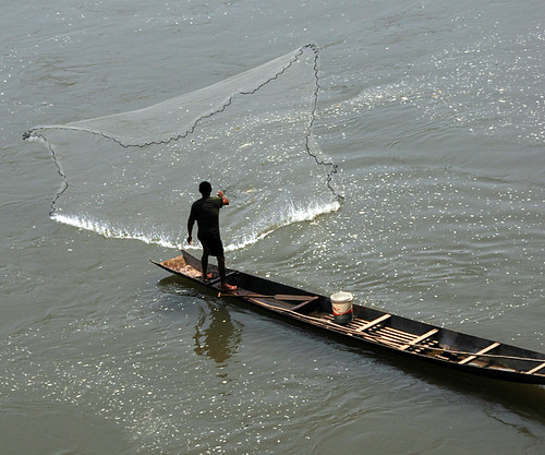 A fisherman casting a fishing net off of a small wood boat in the river off of Luang Prabang in Laos