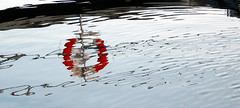 Reflection of a lifebuoy in the water off of Grebbestad, Sweden