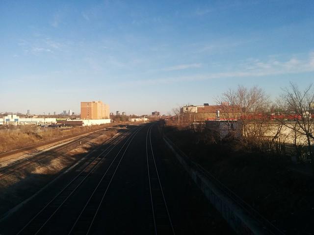 Looking south down the tracks towards the Crossways #toronto #rogersroad #rail #skyline #thecrossways #latergram