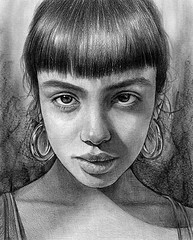 Realistic Pencil Drawing Portrait Girl