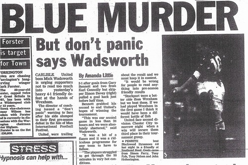 Carlisle United V Wrexham 27-7-1994 Match Report | by cumbriangroundhopper