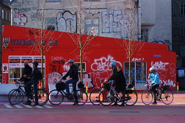 Cyclists on Red Square - district of Nørrebro - Copenhagen