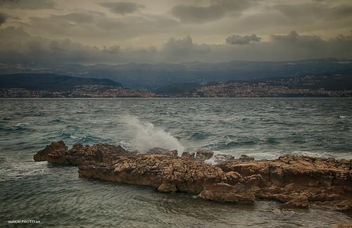 rocks stone sea water weather sky clouds landscape canon waves croatia hrvatska europe