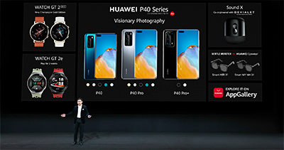 Richard Yu, CEO, Huawei Consumer Business Group launches the anticipated flagship P40 series 5G smartphones and three other new devices - Sound X speaker, Watch GT2e, and Gentle Monster Eyewear.
