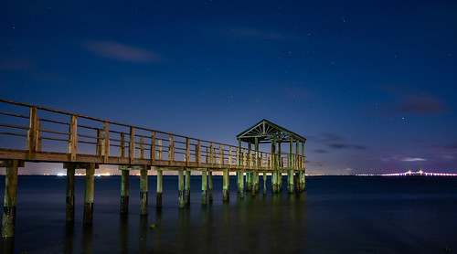 stars park gulf bay dock night longexposure blue hour lines perspective bridge salt ocean shore