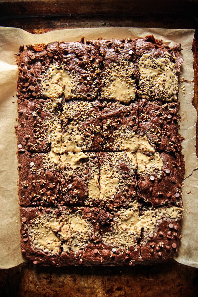 Tahini brownies- vegan and gluten-free from HeatherChristo.com