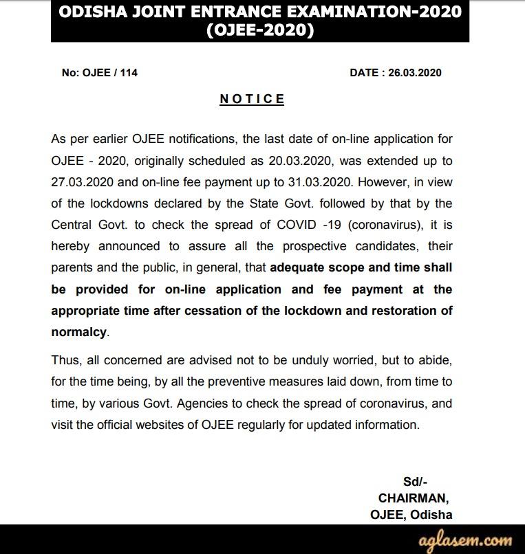 Notice Regarding Extension of OJEE 2020 Application Date