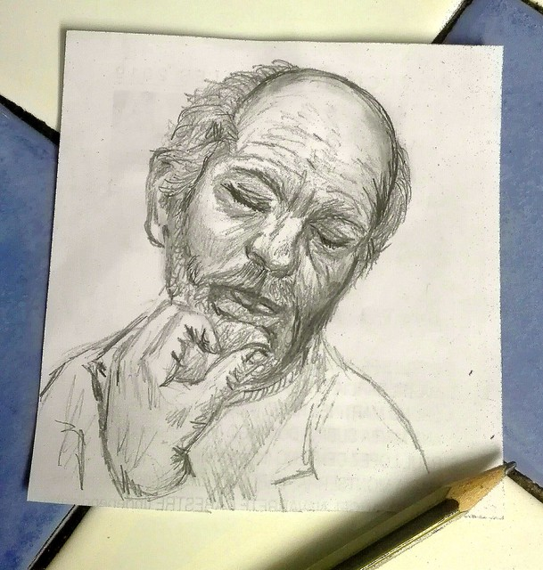 Meditando???...   Small drawings.   .   .   #portrait #drawing #art #draw #painting #portre #retrato #buenosdias #artist #dibujos #pencildrawing #sketch #fanart  #artlovers #painter #crayon #artstagram #bw #man  #buongiorno #tattoo #disegno #ojos  #edad #