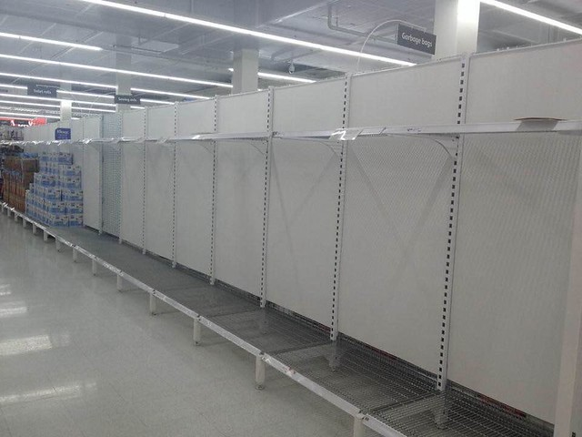 Empty shelves in Coles from the mad ignorant #COVIDIOTS