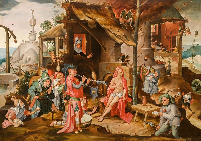 Attributed to Jan Mandijn or Pieter Huys - The Mocking of Job, 1550
