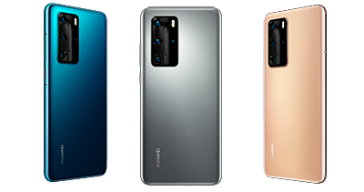 The HUAWEI P40 and P40 Pro will be available in Deep Sea Blue (left), Silver Frost (middle), and Blush Gold (Right).