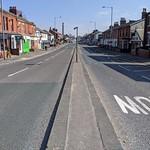 Empty Blackpool Road at Lane Ends Preston