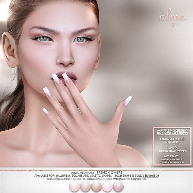 """Alme for The Saturday Sale - """"Mesh Nails// French Ombre"""" in square, ballerina, stiletto  ♥"""