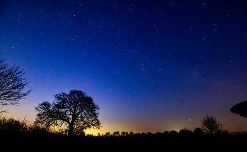 stars night sky sunrise barton dawn cambridge england unitedkingdom