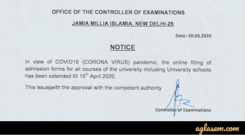 Extension Notice for JMI Application Form 2020