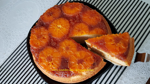 Orange Upside Down Cake Recipe / Orange Sponge Cake / Caramel Upside Down Cake / Shobanas Kitchen