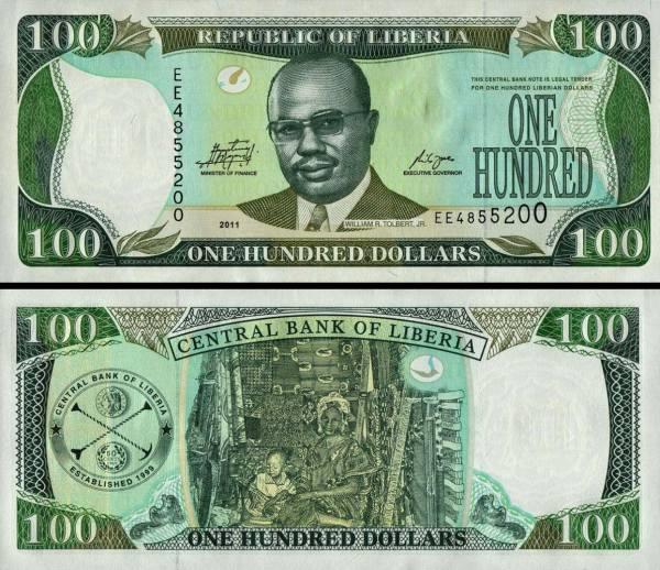 100 Dolárov Libéria 2011, P30g