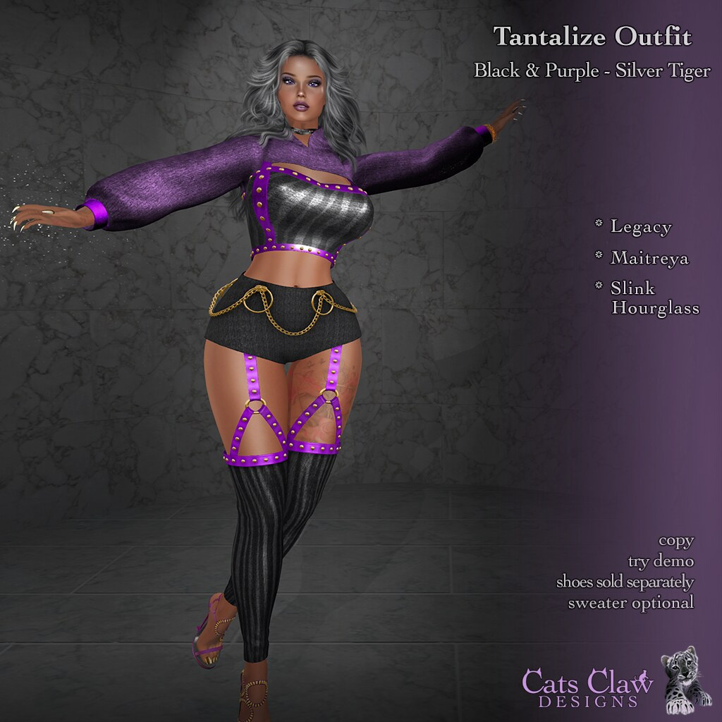 _CCD_Tantalize Outfit Black Purple-Silver Tiger-AD