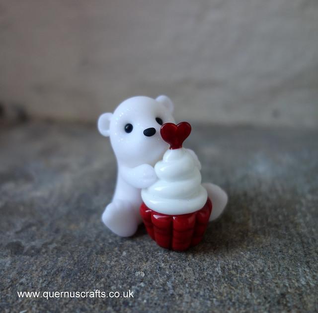 Little Polar Bear with Glass Cupcake