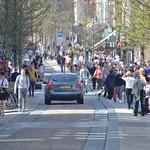 Busy shoppers down Fishergate in Preston