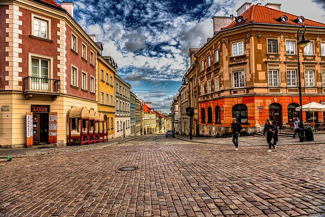 View of Mostowa street standing on front steps of Church of Holy Spirit in New Town, Warsaw, Poland5830a