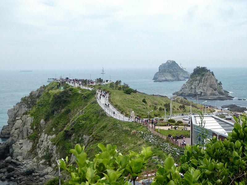The clifftop path leading to the Oryukdo Skywalk, Busan, South Korea