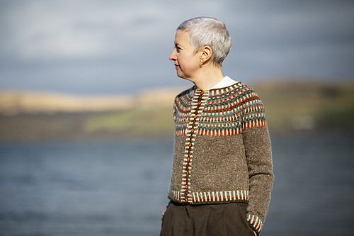 Land O' Cakes by Kate Davies is a cardi with a steeked front opening and corrugated colourwork throughout the yoke.