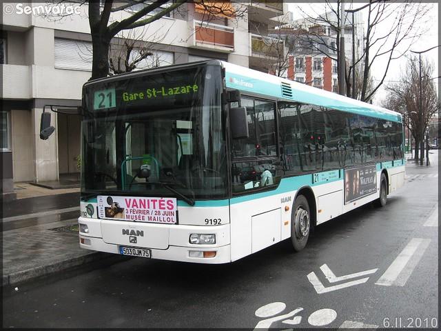Man NL 223 – RATP (Régie Autonome des Transports Parisiens) / STIF (Syndicat des Transports d'Île-de-France) n°9192