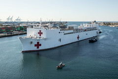 USNS Mercy (T-AH 19) approaches the pier in Los Angeles, March 27. (U.S. Marine Corps/Cpl. Alexa M. Hernandez)