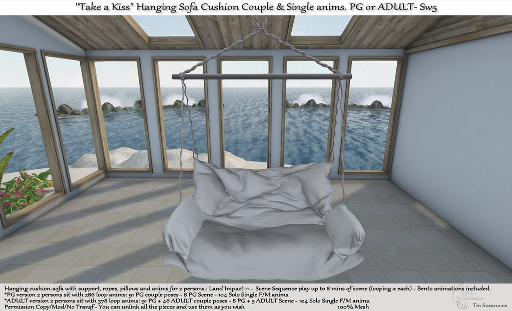 ".:Tm:.Creation ""Take a Kiss"" Hanging Sofa Cushion with anims. Sw5"