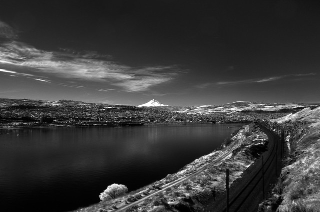 The Dalles and Mt Hood from Across the Columbia, Infrared