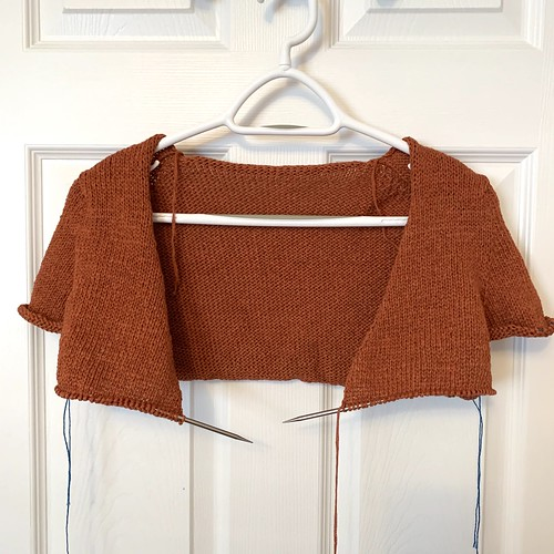 I also separated the sleeves and body of my Antonia/ Antonio Cardigan by Cocoknits!- knit using Berroco Elba