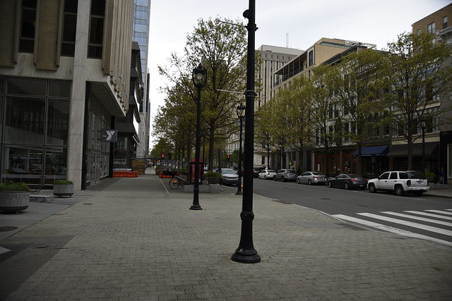 DOWNTOWN RALEIGH NC EMPTY BECAUSE OF THE CORONA VIRUS AND