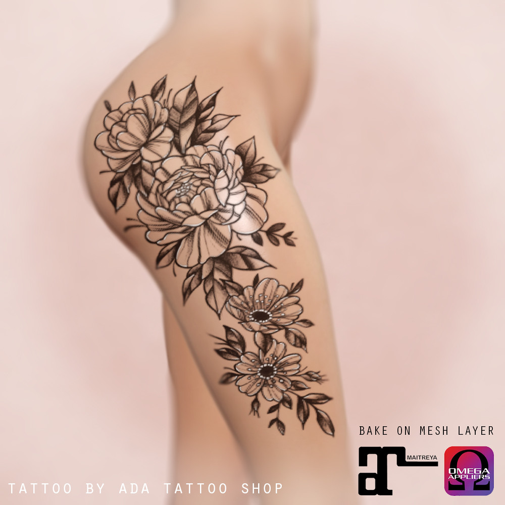 ADA Tattoo Shop Thigh floral composition (BoM, OMEGA, MAITREYA)
