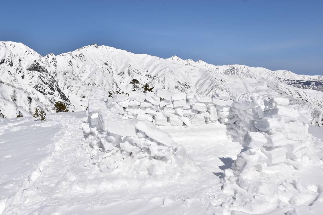 中遠見山山頂のテント泊跡