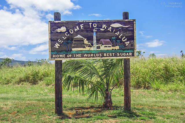 Welcome to Waialua sign - Oahu, Hawaii