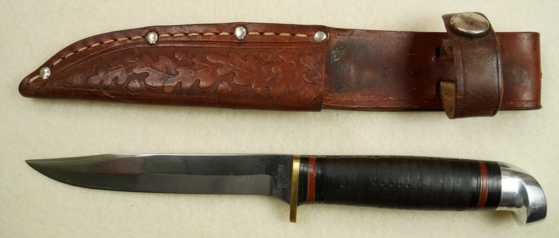 RD29594 Vintage Western Boulder Colo. Patented Fixed Blade Knife wih Original Sheath DSC01794